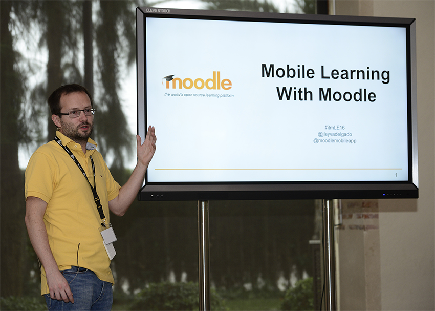 During the 1st Moodle Solutions Forum. Photo: AFP Jose Jordan.
