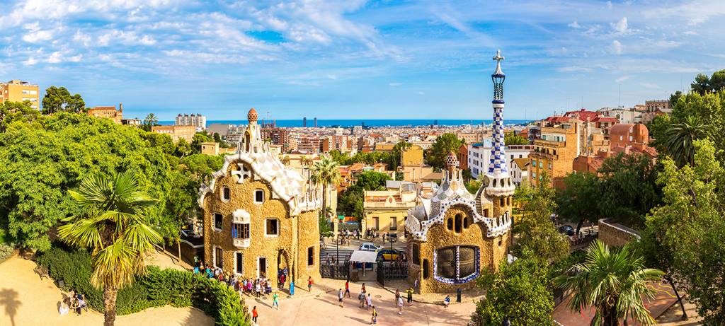 View from park güell to Barcelona, Spain.