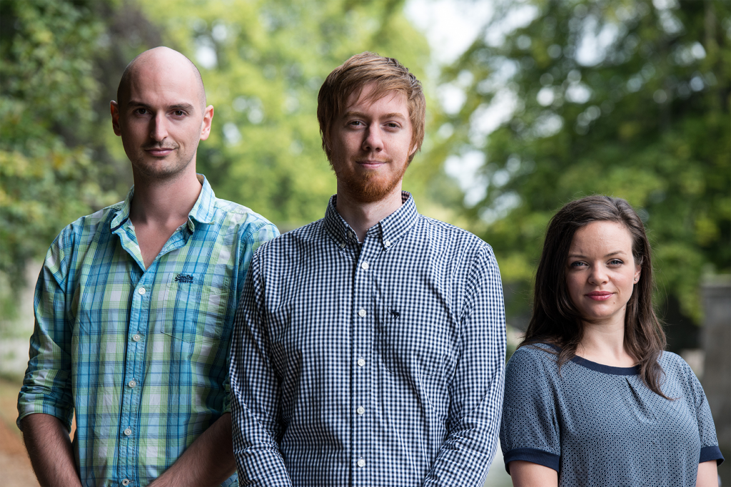 Simon Gaeremynck, cofounder of Fronteer, Nicolaas Matthijs and Anne-Sophie De Baets, UX researcher and designer. Photo: AFP Chris Ratcliffe.