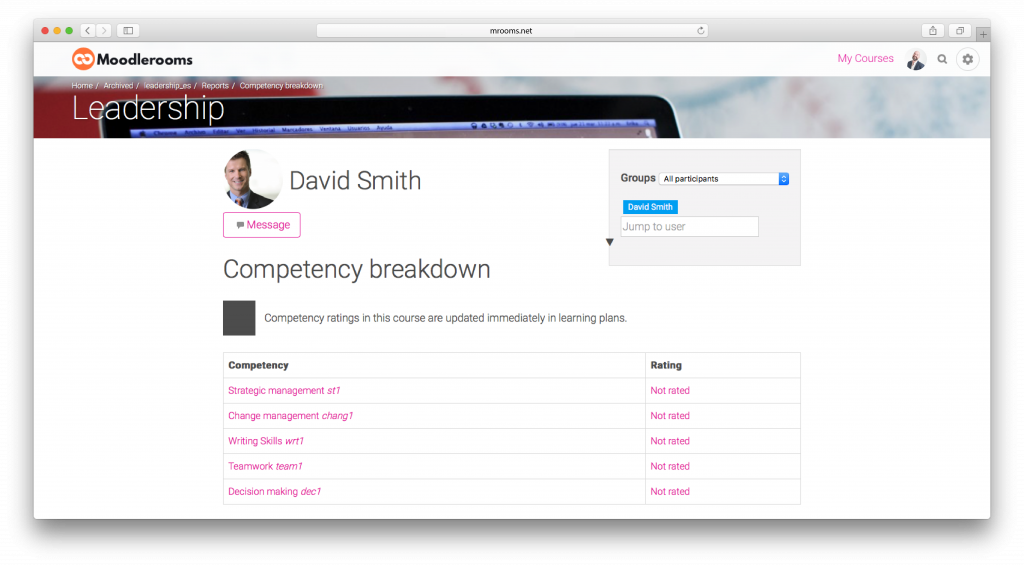 Screenshot from the 3.1 moodlerooms version release: competency breakdown.