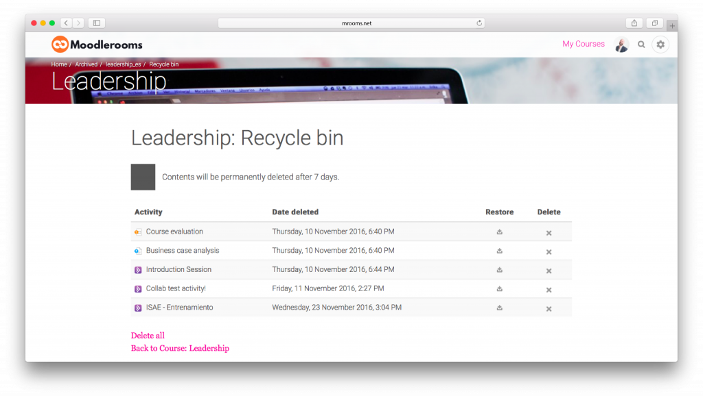 Screenshot from the 3.1 moodlerooms version release: recycle bin.