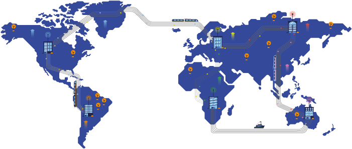 Illustration showing open education over a World Map.