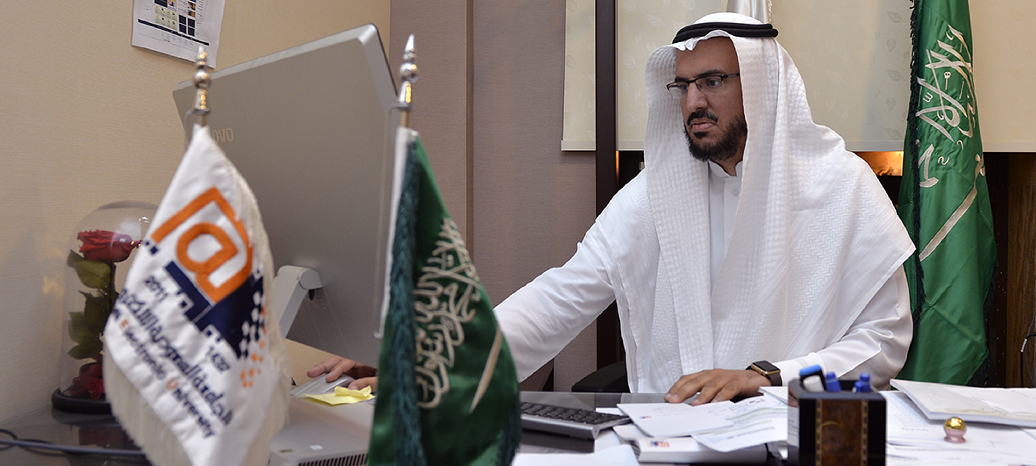 Saleh Alsalamah, Blackboard Administrator at Saudi Electronic University. Photos by: AFP Abdallah Al-Shaikhi.