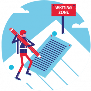 Illustration: a writing zone can also be found up the creation mountain, providing students with a space and the academic tools to prevent plagiarism.