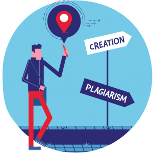 Illustration: student walks along a road and must choose between two paths: creation (producing original work) or plagiarism.