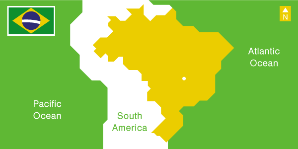 Illustration south America map and flag of Brazil