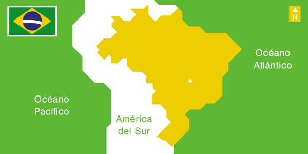 Illustration South America Map and Brazil's flag