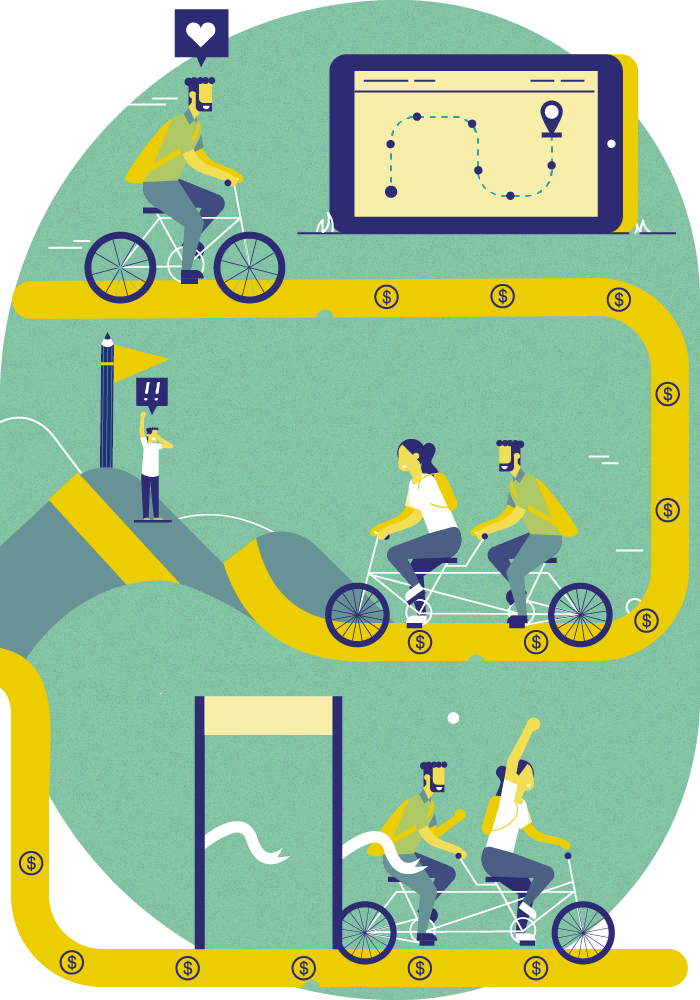Illustration: the interaction between the students and the institution is represented with an analogy of a bicycle ride. It shows that the personal effort to meet objectives, teamwork and the continuous support from the institution, achieves that the students feel heard and motivated to continue.