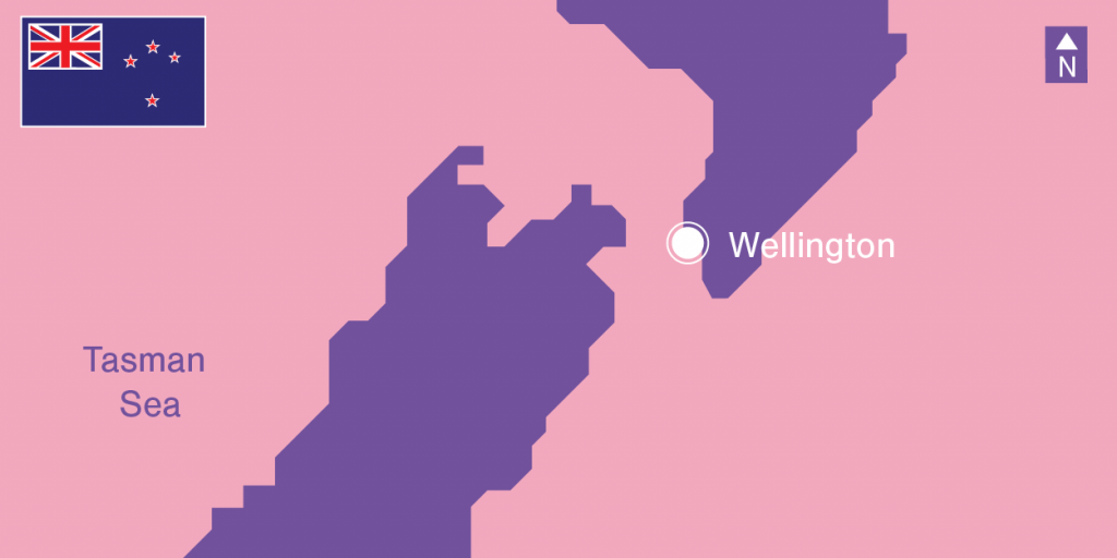 Illustration New Zealand's Demographics - map, flag and Auckland location