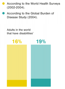 Some facts about Accesibility: 16% of adults in the world have disabilities, according to the World Health Surveys (2002-2004). According to the Global Burden of Disease Study (2004), it is 19%.