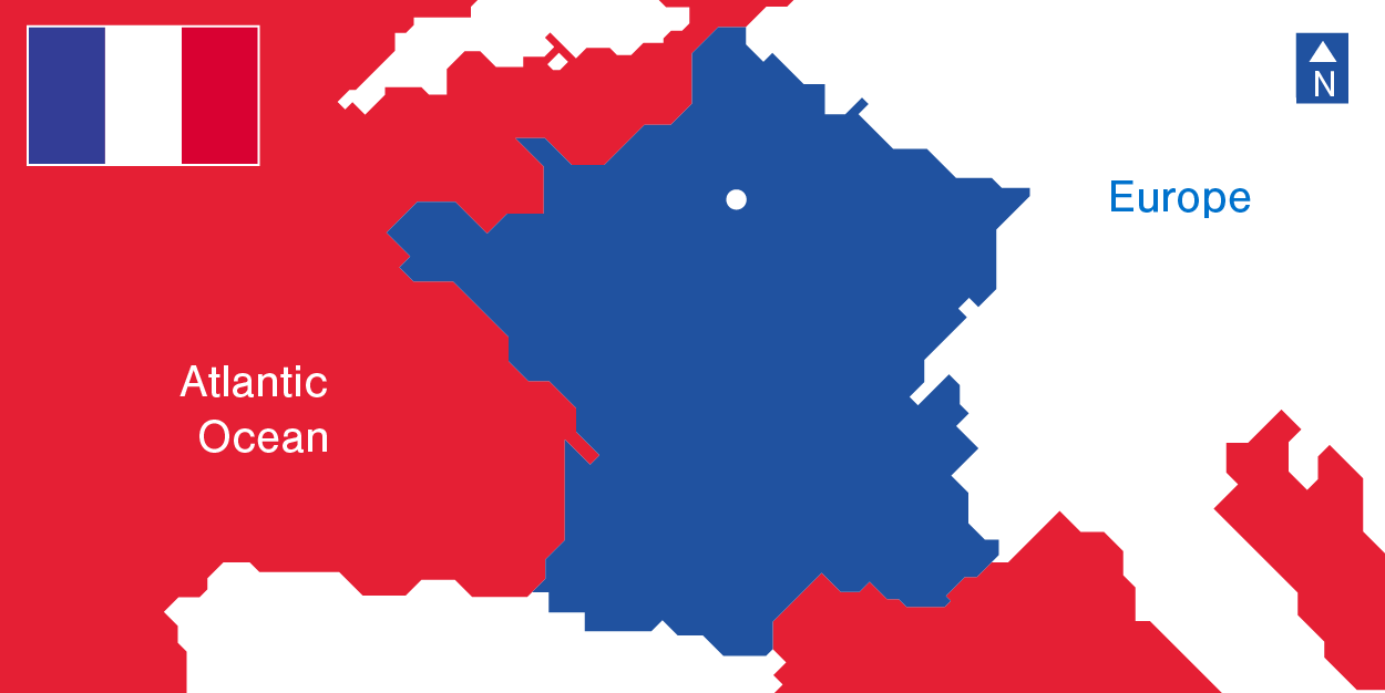 France's Demographics - Flag and Map, Atlantic ocean