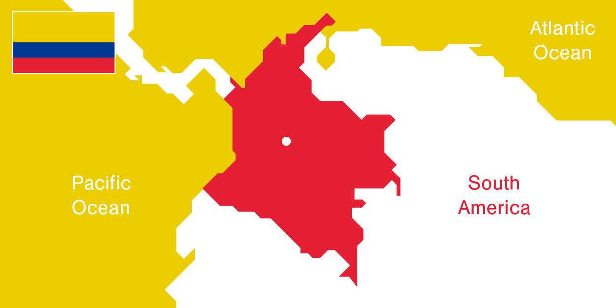 Illustration Colombia´s demographics - MAP AND FLAG