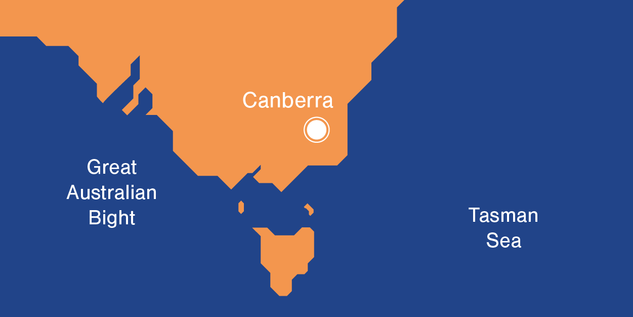 Australia's Demographics - Canberra map ubication