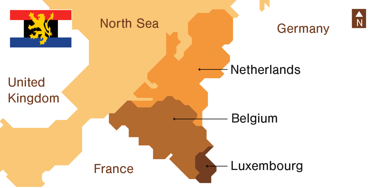 Illustration Benelux's Demographics: map and flag
