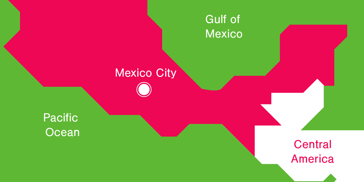 Illustration map Mexico City, Gulf of Mexico, Pacific Ocean